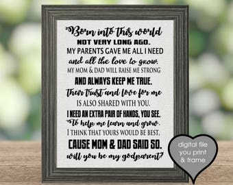 Will you be my Godparent Godparents Godmother Godfather 4 files instant download you print & frame Ask family or friends to be godparent