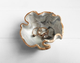 Marble Rose Gold Ring Dish (One-Of-A-Kind)