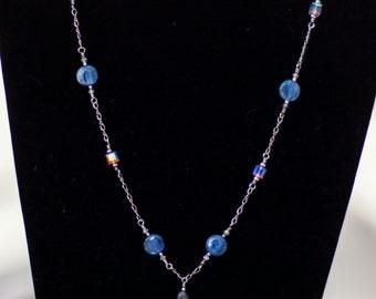 Swarovski Crystal and Kyanite Gemstone on Sterling Silver Chain