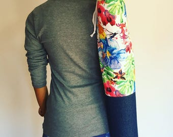Yoga mat bag, bi-coloured denim and canvas, handmade (slim)