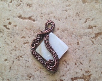 Small Mother-of-Pearl Wire Wrapped Pendant