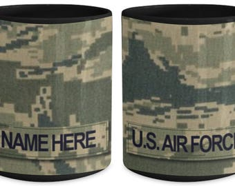 US Air Force (USAF) Senior NCO Ranks MSgt-CMSgt (E7-E9) Customized Name/Text and Rank, Personalized 15 oz Coffee Mug