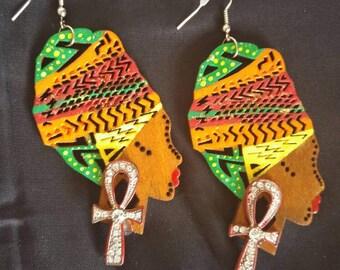 Afrocentric Earrings, Afro Earrings, Queen Earrings, Ankh Earrings, Handpainted