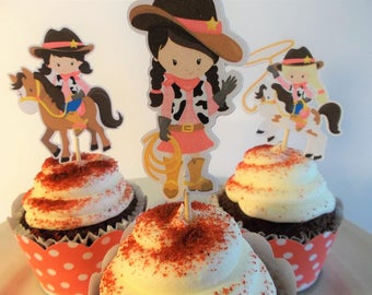 Cowgirl cupcake toppers, Birthday cupcake toppers, Party decor