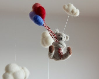 Teddy Bear Mobile, baby mobile, nursery mobile, needle felted teddy bear, baby shower gift