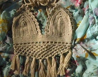 tan crochet fringe halter