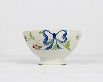 Sarreguemines Antique Bowls - Hand Painted Bowl, Blue Bow, French Bowl, Cafe au Lait Bowl, Ceramic Bowl, Ceramic bowl, Cafe au lait bowl