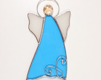 Stained Angel Suncatcher Ornament Blue