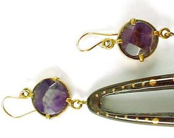 Amethyst Wood 10k Yellow Gold Earrings