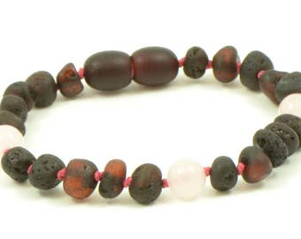 Amber Teething Anklet / Bracelet for  Baby / Child ,  14cm(5.5 inches), Hand-Made, Raw Cherry and Quartz Beads, Knotted, S00136Q