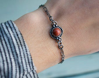 Goldstone Shimmer Round Stone Oxidized Sterling Silver Chain Link Charm Bracelet