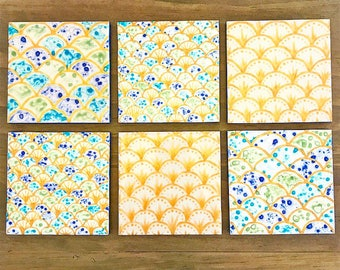 Mermaid Coasters * Hand-Painted Ceramic Tiles * Set of 2, Set of 4, Set of 6 available