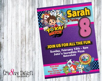 YoKai Watch Girl Birthday Custom Printable Invitation, Yo-Kai Girl Birthday, Purple Yokai