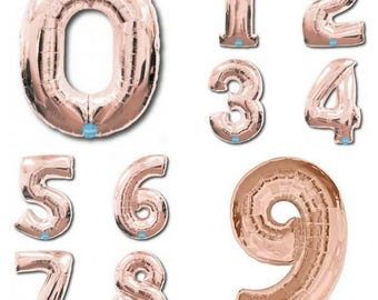 Jumbo GIANT Rose Gold  100cm Numbers 0 - 9