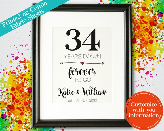 34th Wedding Anniversary Gift Ideas For Parents : 34th Wedding Anniversary Gift For Parents 34 Year Anniversary Linen ...