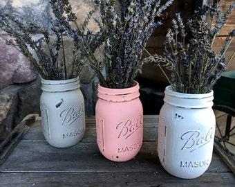 Set of 3 Distressed Mason Jars Vases