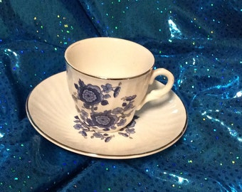 Enoch Wedgwood Tea Cup and Saucer Blue White