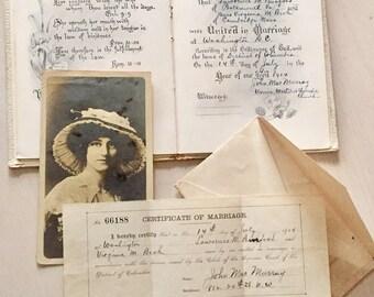Vintage Marriage License - Scrapbook - Ephemera -1914