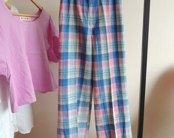 FREE SHIPPING - Vinatge Blue, Pink and Ivory checkered Woven Bell pants with wide legs, high waist and zipper, size 36
