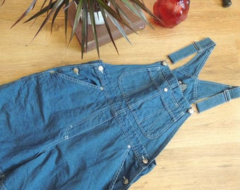 FREE SHIPPING - Vintage Blue half linen Romper with pockets, size 10