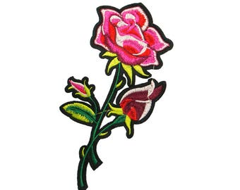 Free Shipping! Blooming Pink Floral Rose Embroidered Iron-On Patch, Embroidery Applique