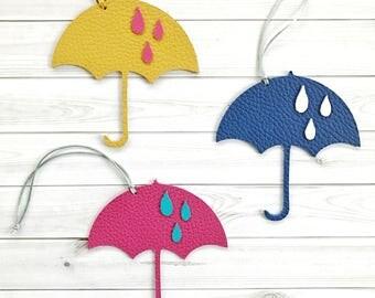 Umbrella leather bag charm