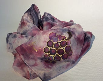 Silk hand painted scarf Batik