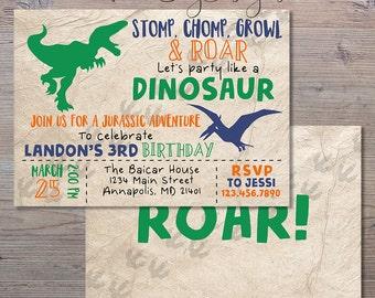 Dinosaur Invitation, Dinosaur Birthday Party Invitation, Stomp Chomp Growl and Roar, Dinosaur Birthday, Party Invitation, Dinosaur Party