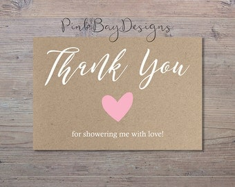 Kraft Paper Thank You Card, Instant Download Thank You, Rustic Thank You Card, Shower Thank You Card, Country Thank You