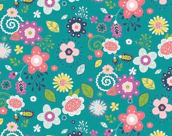 Teal Floral Fabric/ Main Enchanted/ Bright Floral Fabric/ Riley Blake Fabric/ Fabric by the Yard/ Enchanted Main/ Baby Girl Fabric