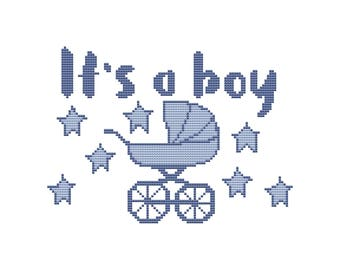 PDF cross stitch pattern, baby birth announcement cross stitch chart, baby boy birth announcement, baby shower cross stitch