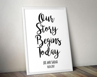 Our Story Begins Sign for a Wedding or Engagement | Personalised Print