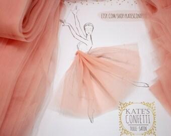 16 Soft Peach Soft Luxury Tulle Fabric, Tulle Material Wholesale, Tulle Fabric Tutus, fabric for tutu, diy tutu - 3m width