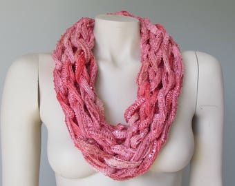 Coral Lightweight Summer Infinity Scarf