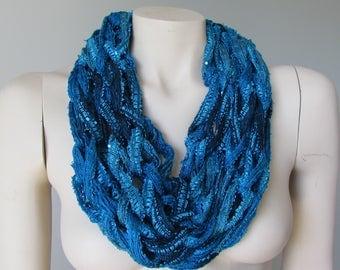 Blue Lightweight Summer Infinity Scarf