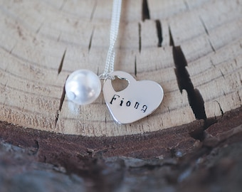 Personalized Name Jewelry Sterling Silver Heart Charm Hand Stamped Jewelry Bridesmaid Gift Idea Wedding Jewelry Pearl Charm Necklace