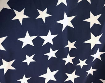 White Star/Navy Print  Swimwear Fabric, Nylon Spandex Matte Tricot  4 Way Stretch