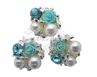 Aqua Pearl Rhinestone~Pearls~Wedding Brooch Bouquet~Crystal Flowers~Crystals~Jewelry Supplies~DIY Supplies~DIY Headbands~Craft Supplies~