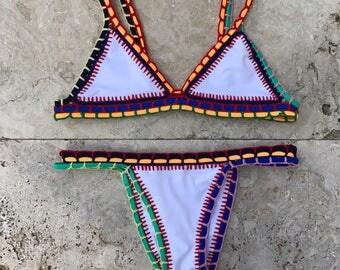 Brazilian Bikini Set+Bikini+Cheeky Swimwear+Vintage Bikini+Thong Bikini+Boho Bikini+Sexy Swimwear+Bikini Top+Pink Bikini