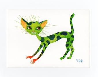 Postcard cat green, fine art postcards, watercolour