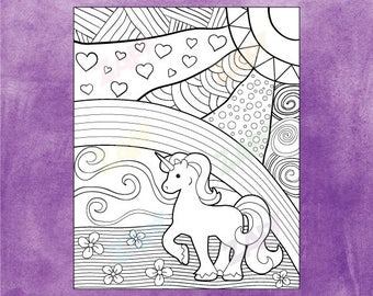 Unicorn Coloring Page - Unicorn and Rainbow - Instant Download - Zentangle inspired, zendoodle, adult coloring, printable, doodle art,