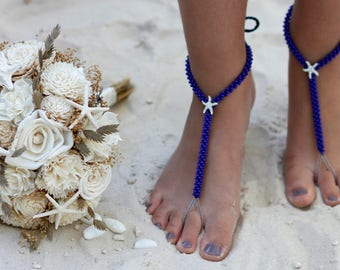 beach wedding, barefoot sandals, crochet anklet, destination wedding, foot jewelry, yoga sandals, yoga jewelry, beach party, blue sandals