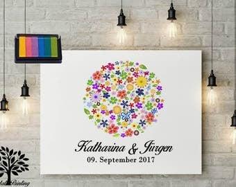 70 x 50 vintage, boho style, colorful stamp pads, rustilales guestbook, wedding, wedding tree tree