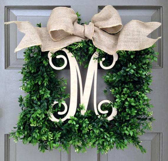 Monogram Square Faux Boxwood Wreath 1 Italics Natural
