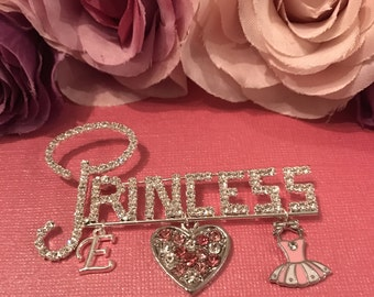 Princess Pin Ballerina Heart Initial / stroller pin / diaper pin / home decor / nursery decor