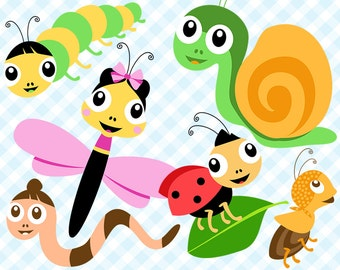 Bug Digital clipart, Cute Bugs Clipart, Insect clip art, Butterfly Clipart, Bee, Ladybug, Snail, Аnt, Commercial Use, Vector Graphics, PNG