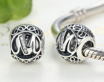 Authentic Sterling Silver Beads Vintage Letter Beads with Clear Cubic Zirconia Charm Fits European & Pandora Charm Bracelet