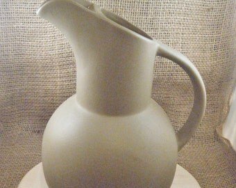1970's Hartstone Pottery Taupe Pitcher
