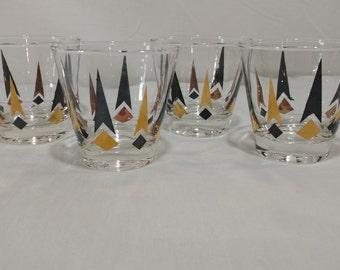 Four retro mid century old fashioned glasses