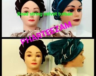 Bead String Velvet Turban